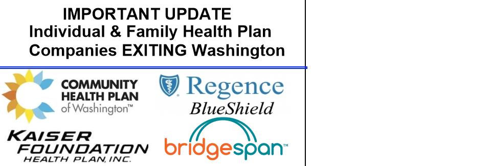 Individual & Family Health Plan Companies EXITING Washington